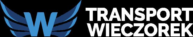 niebiesko białe logo firmy TRANSPORT WIECZOREK